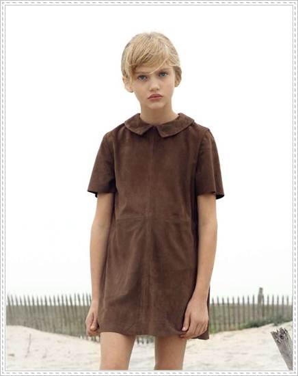 moda infantil: vestido marrón piel