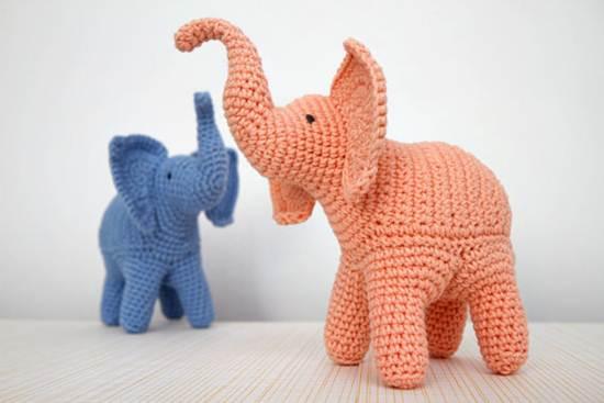 muñecos de ganchillo: elefantes