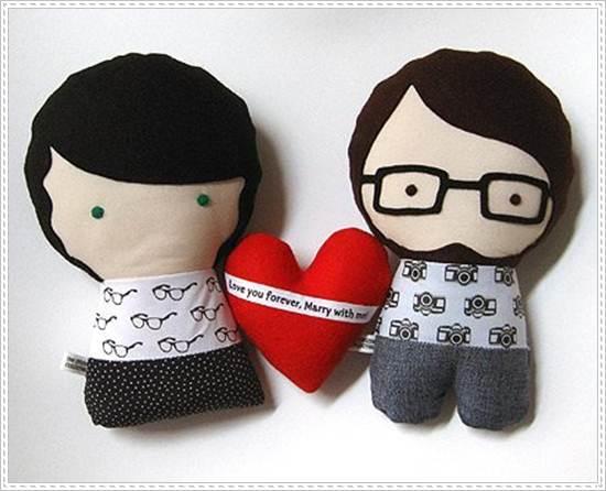 muñecos de trapo: pareja enamorados