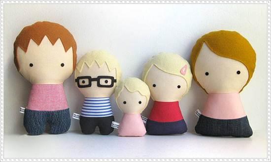 muñecos de trapo: familia rubia