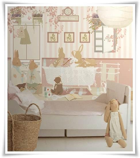 murales infantiles: conejos bañándose