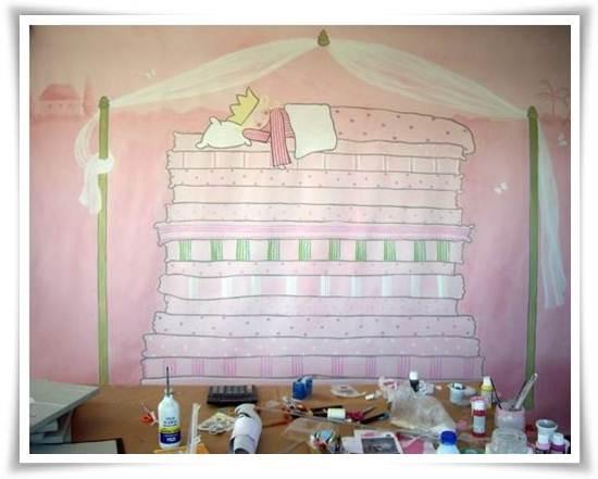 murales infantiles: rey en la cama