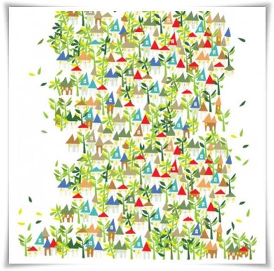 murales infantiles: casas en el campo