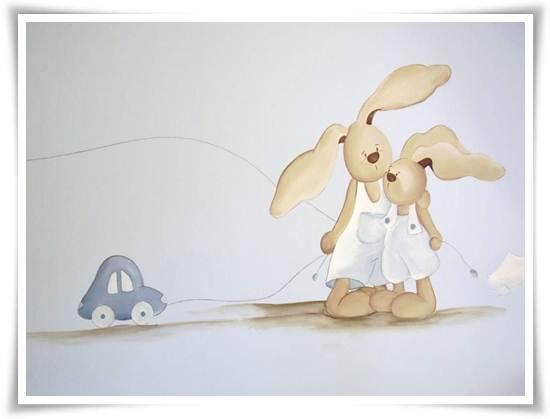 murales infantiles: conejo y mamá conejo
