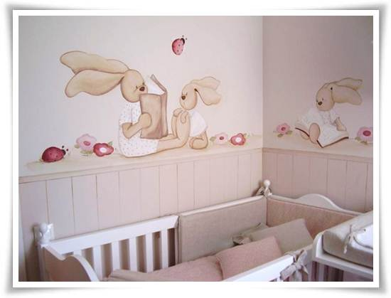 murales infantiles: conejitos leyendo