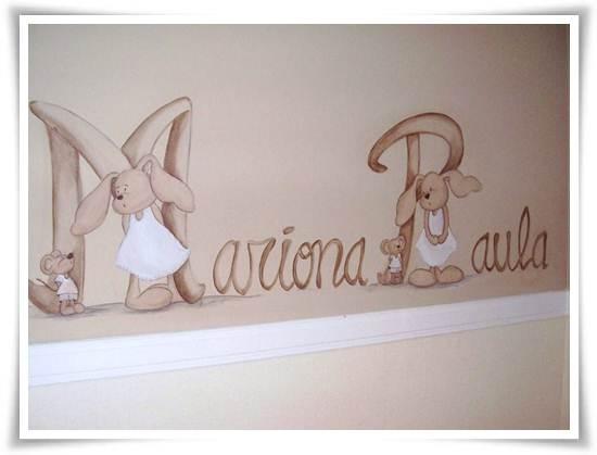 murales infantiles: nombre con conejitos
