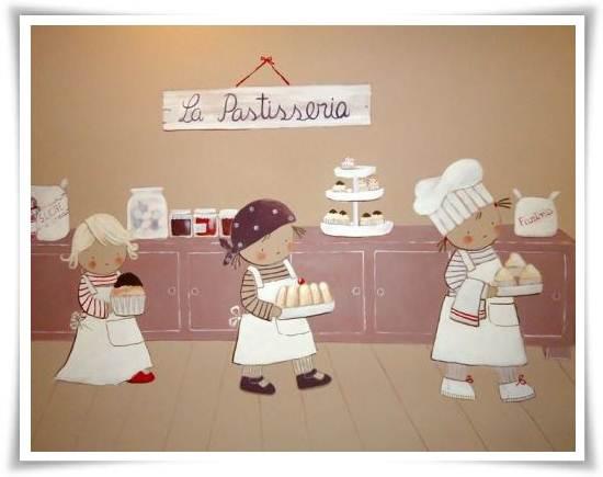 murales infantiles: pastelería