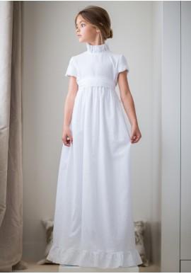 vestido-comunión-plumetti-blanco-manga-corta-cuello alto-petritas