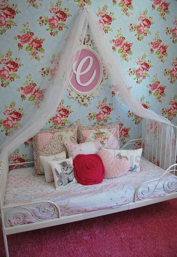 habitaciones infantiles con flores
