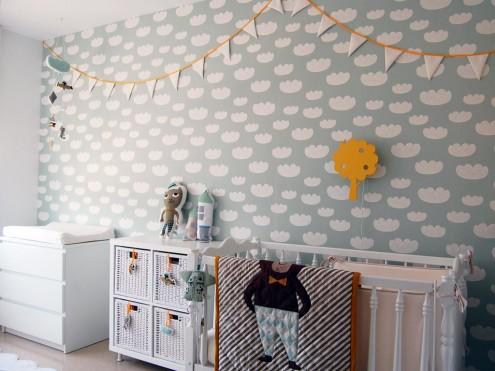 habitacio-infantil-suave-nubes-mint-papel-pintado-ferm-living